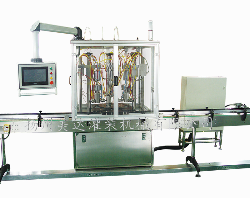 Model QGQGDY-3 PLC Controlled Three heads Automatic Under-cap Oxygen Filling Machine